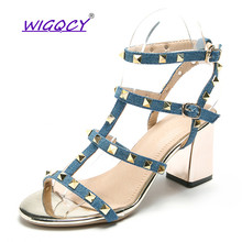 Gladiator Rivet sandals women 2019 summer shoes European American High heels Buckle Strap Square heel Roman female