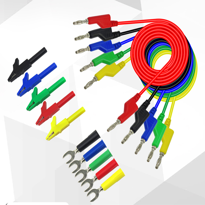 5 PCS 5 color High Voltage Silicone cable Double alligator clip 5MM opening 1M
