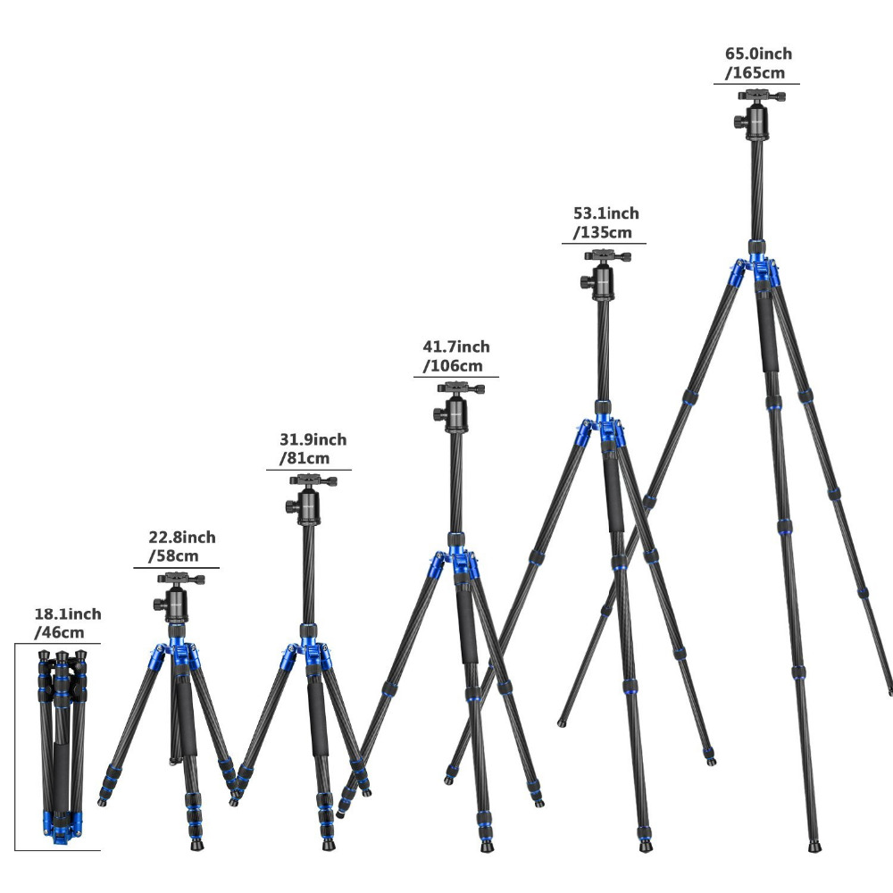 Neewer Carbon Fiber 65 inches/165cm Tripod Monopod 360 Degree Ball Head 1/4 inch Quick Shoe Plate+Bubble Level for Canon neewer 20 inches portable compact desktop macro mini tripod ball head 1 4 inches quick shoe plate for canon camera tripods dslr