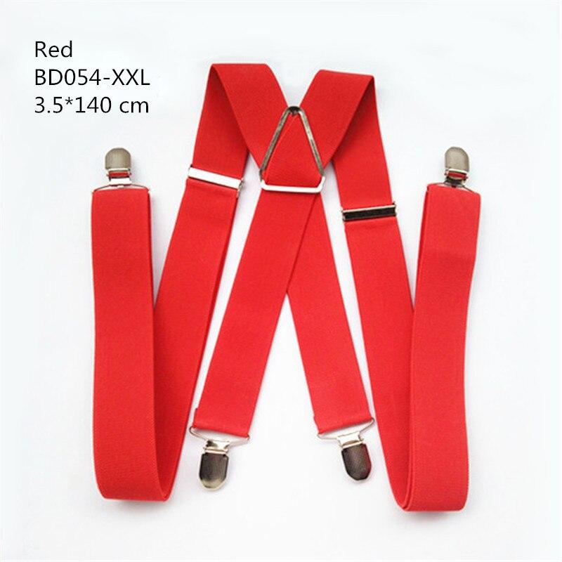 Одноцветные подтяжки унисекс для взрослых, мужские XXL, большие размеры, 3,5 см, ширина, регулируемые эластичные, 4 зажима X сзади, женские брюки, подтяжки, BD054 - Цвет: Red-140cm