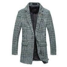 Мужская Плед С Длинным Slim Fit Смеси Пальто Две Кнопки Зима Плюс размер 5XL Блейзер Воротник Англия Стиль Одежды Мужской Кофе Зеленый K102