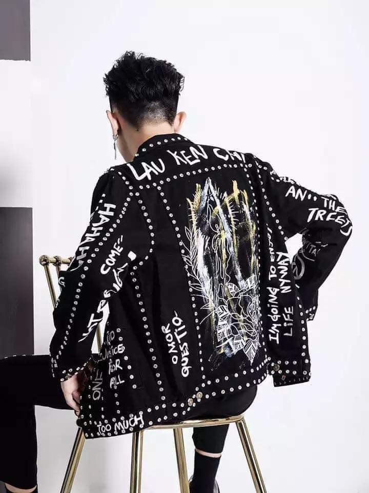 100%real Luxury Mens Black Graffiti Rivet Jacket Club/stage Performance/studio/Asia Size/this Is Only Jacket
