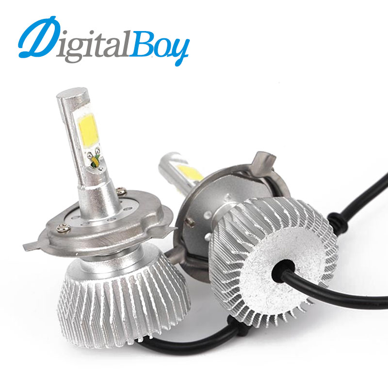 Digitalboy Super Bright Car Lighting Headlights H4 Hi/Lo LED Bulb Auto Front Bulb 60W 6000LM Automobiles Headlamp White 6000k super bright car headlights led h4 4i lo