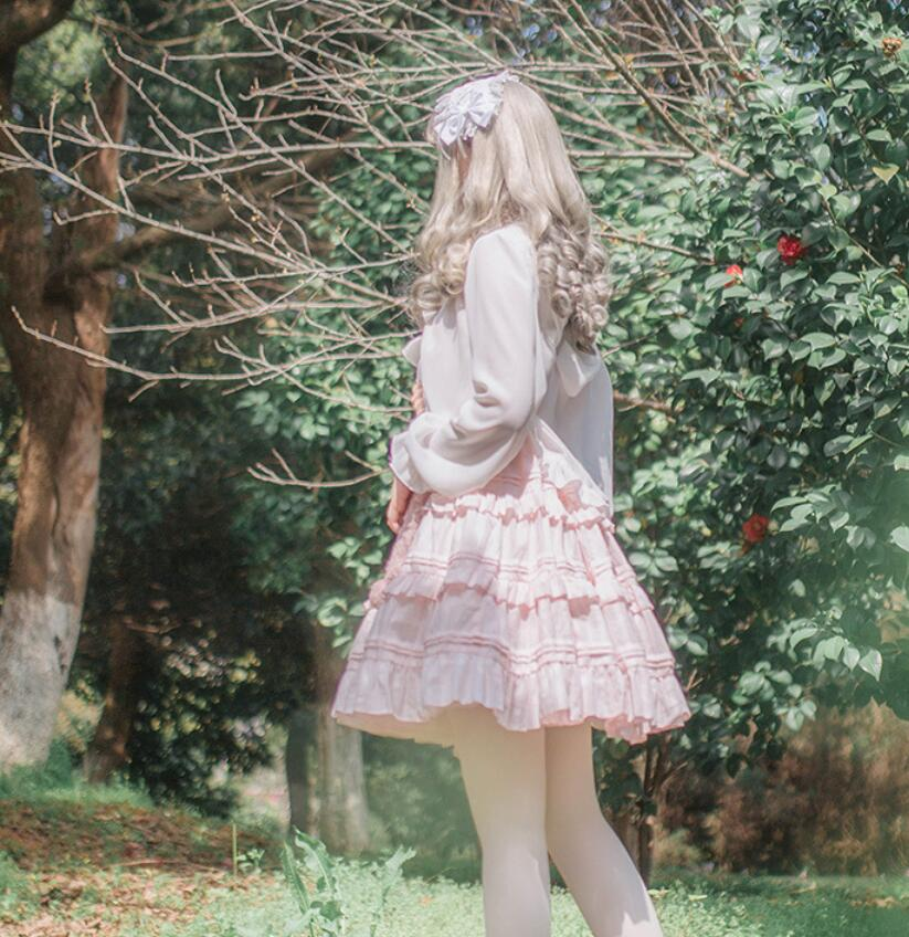2018 Lolita Court princesse mode rose/blanc fronde sans manches à volants femme robe gothique lolita victorienne douce lolita robe - 5