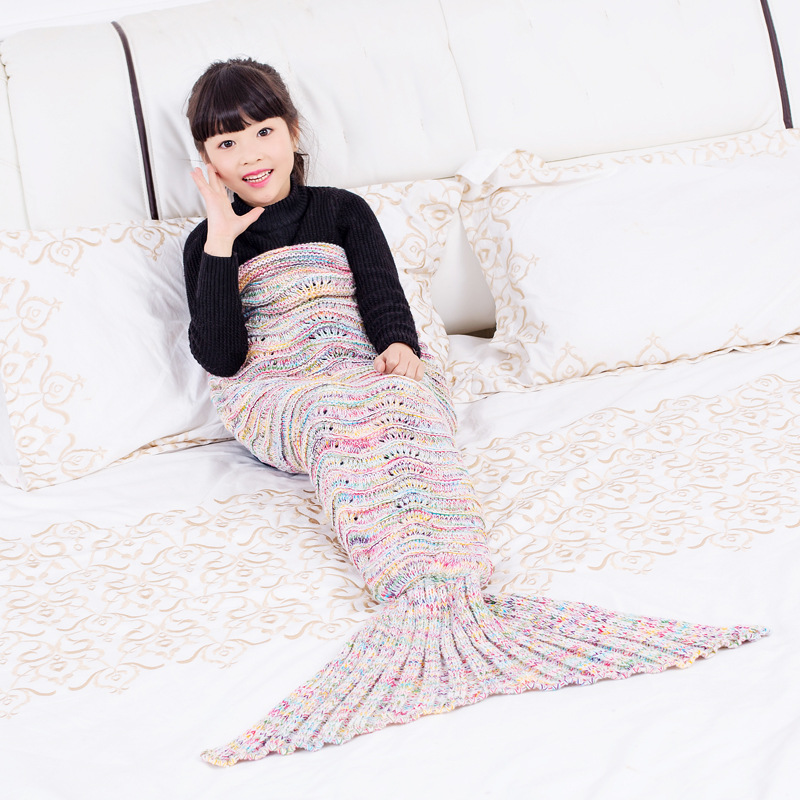 New Mermaid Blanket Blanket Yarn Knitted High Quality Blankets Knitting Fish Tail Blanket Sofa Cover Birthday Gifts For Girls