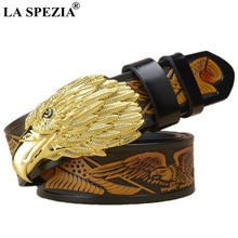 LA SPEZIA Real Leather Belt Men Gold Eagle Pin Buckle Male Italy Brand Genuine Cowhide Vintage Designer Belts 130cm