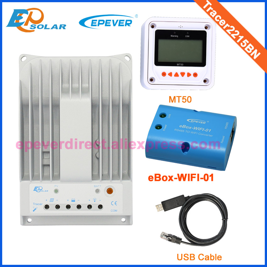 solar controller for 24v 520w solar panel system use Tracer2215BN mppt tracking wifi BOX USB cable and MT50 meter 20A 20ampsolar controller for 24v 520w solar panel system use Tracer2215BN mppt tracking wifi BOX USB cable and MT50 meter 20A 20amp