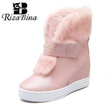 Купить с кэшбэком RizaBina Women Half Short Snow Boots Inside Heel High Wedges Boots Thick Fur Shoes Women Winter Boots Women Footwears Size 34-43