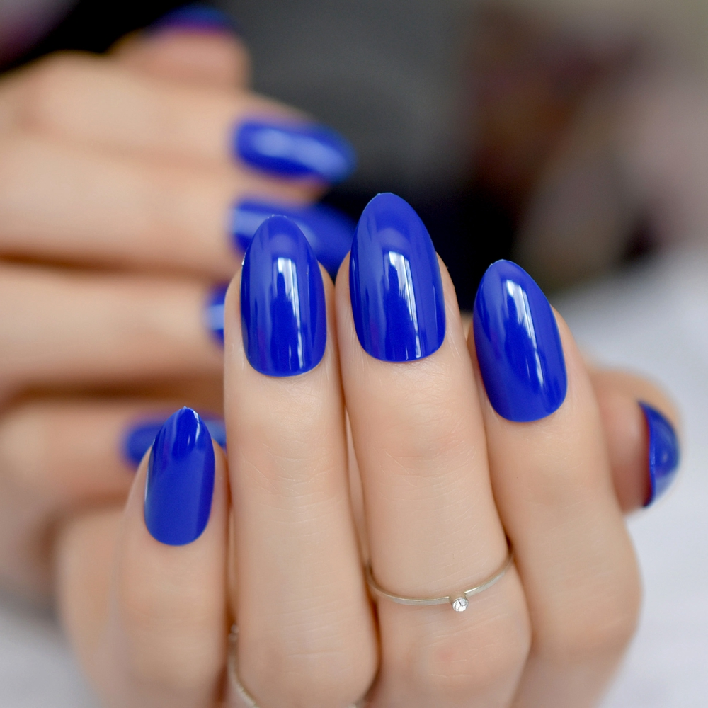Shiny Sapphire Blue Candy Nail Art Almond Design Pointed Medium Artificial Fake Nails Kit Easy DIY Finger Tips Pure Color 300P slip-on shoe