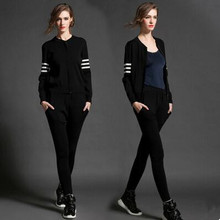 2016 New Hoodies Women Casual Sweatshirt Fashion Knitted O-neck Tracksuit Moletom Feminino Women's Clothing Two Piece Set