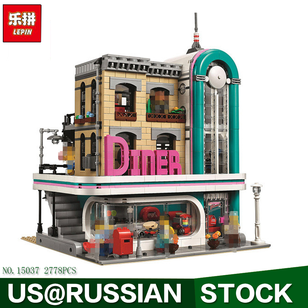 Lepin 15037 The Downtown Diner Set Genuine Streetview Series Legoiong 10260 Building Blocks Bricks Funny Toys DIY Gift lepin 16018 genuine the lord of rings series the ghost pirate ship set building block brick funny toys 79008