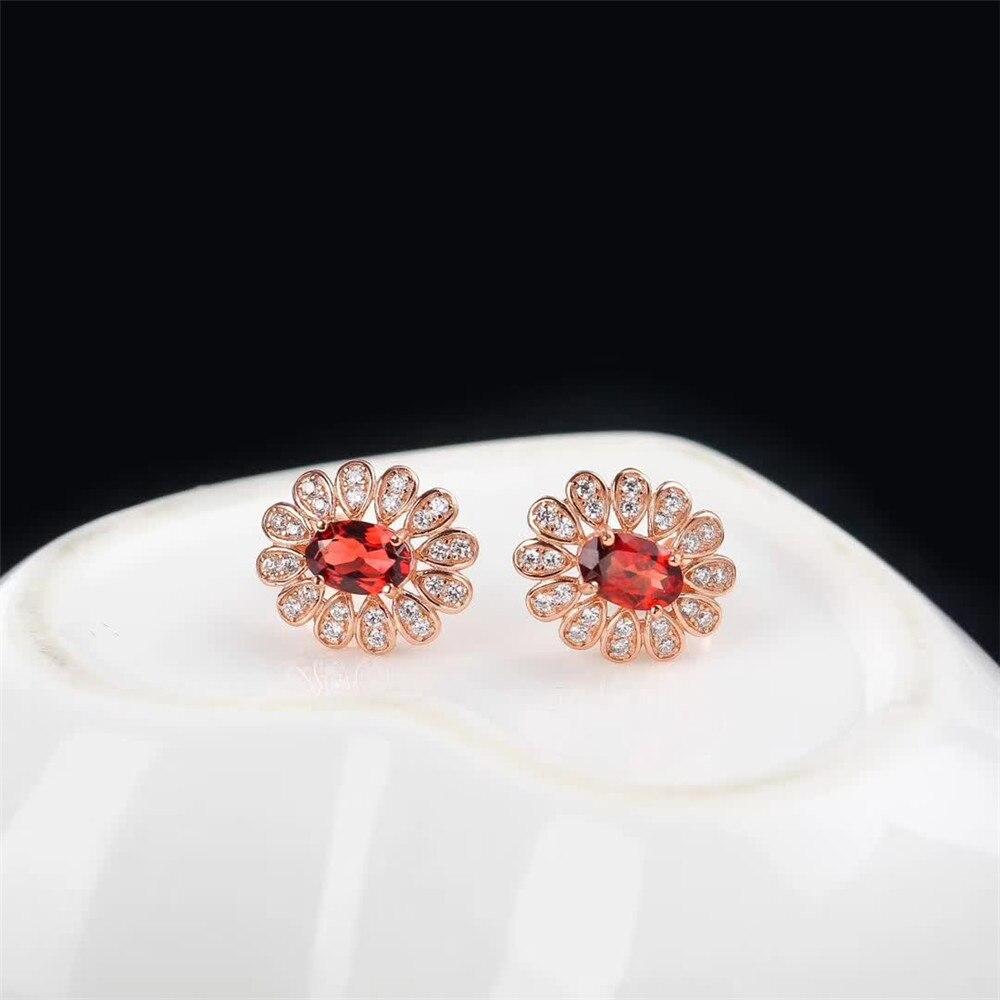Boucles d'oreilles à la mode en argent sterling 925 naturel grenat rouge collier pendentif bague ensemble de bijoux pour mariage de fiançailles femme - 5
