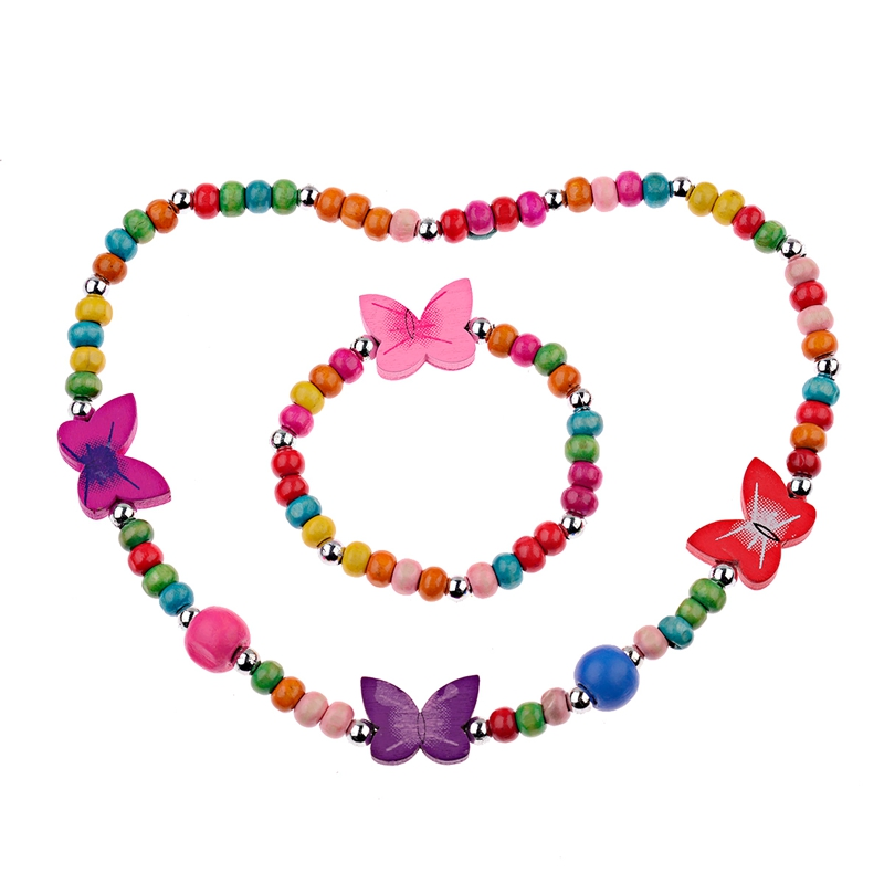 Jewelry-Sets Necklace Bracelet Heart-Beads Girls Children Gift Fashion New Wood for Cute
