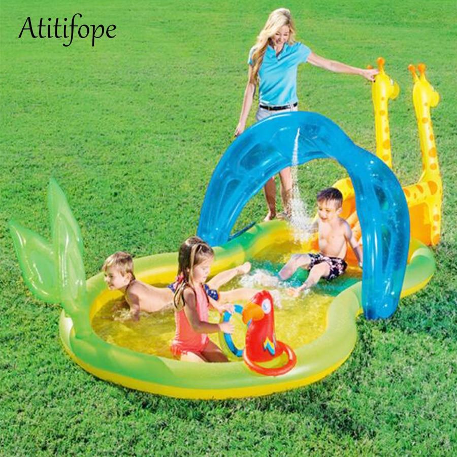 Mignon animal en forme de jouets gonflables enfants piscine gonflable jardin piscine pour bébé été jeu d'eau heureux temps avec les enfants - 2