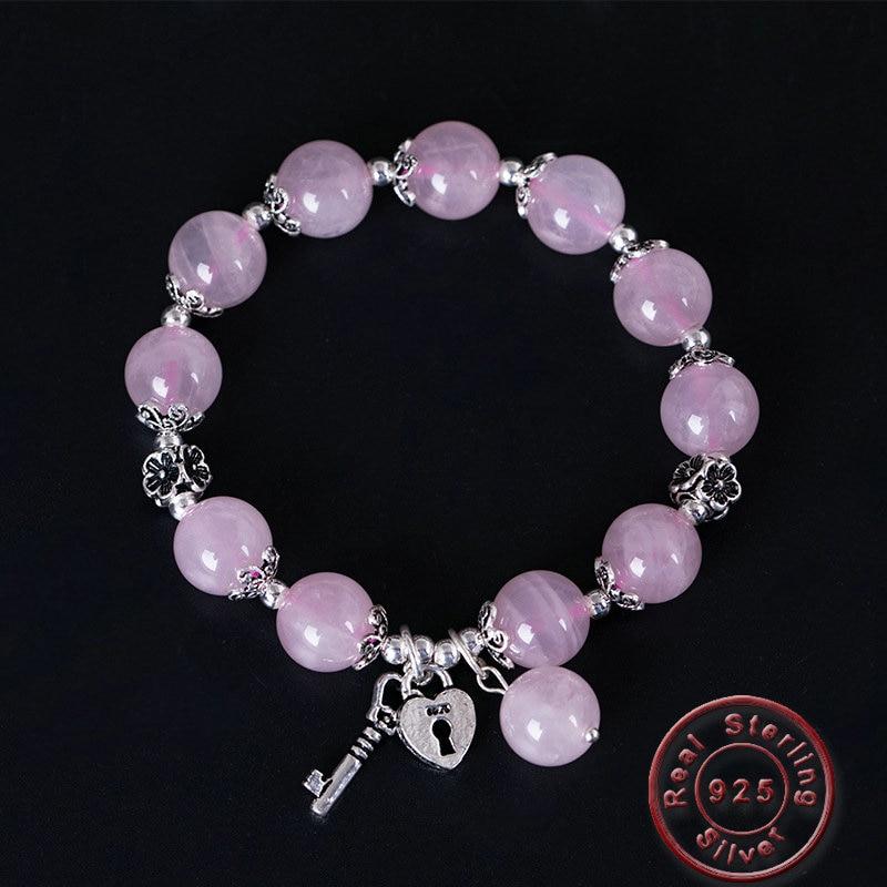 Amxiu bricolage 925 Bracelet en argent Sterling pierres naturelles perles Bracelets bijoux faits à la main coeur serrure clé Bracelet Bracelets porte-bonheur