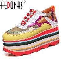 FEDONAS/Модная брендовая дизайнерская женская обувь на плоской платформе с круглым носком; женские кроссовки смешанных цветов; повседневная ж