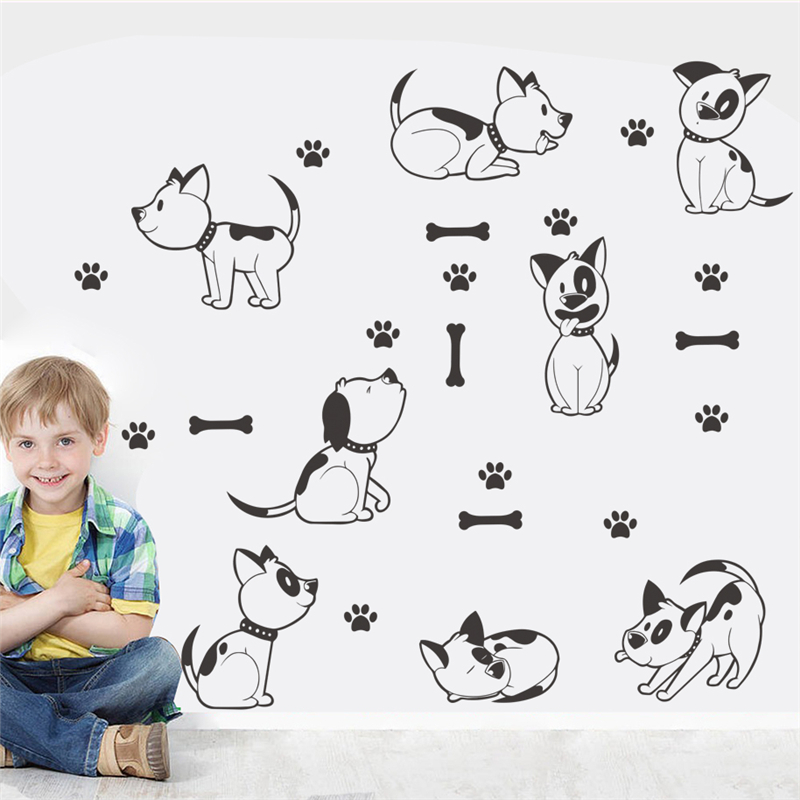 lovely dog bone paw black wall stickers for kids rooms home decor cartoon animal wall decals pvc mural art diy poster