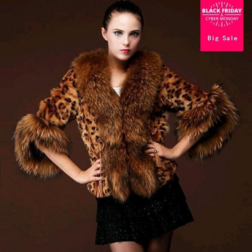 S-3XL Faux Fox Fur Leopard Coat Women Winter Thick Warm Fox Fur Fashion Luxury Coat Fur Jacket Gilet Female Wj1450 Free Shipping