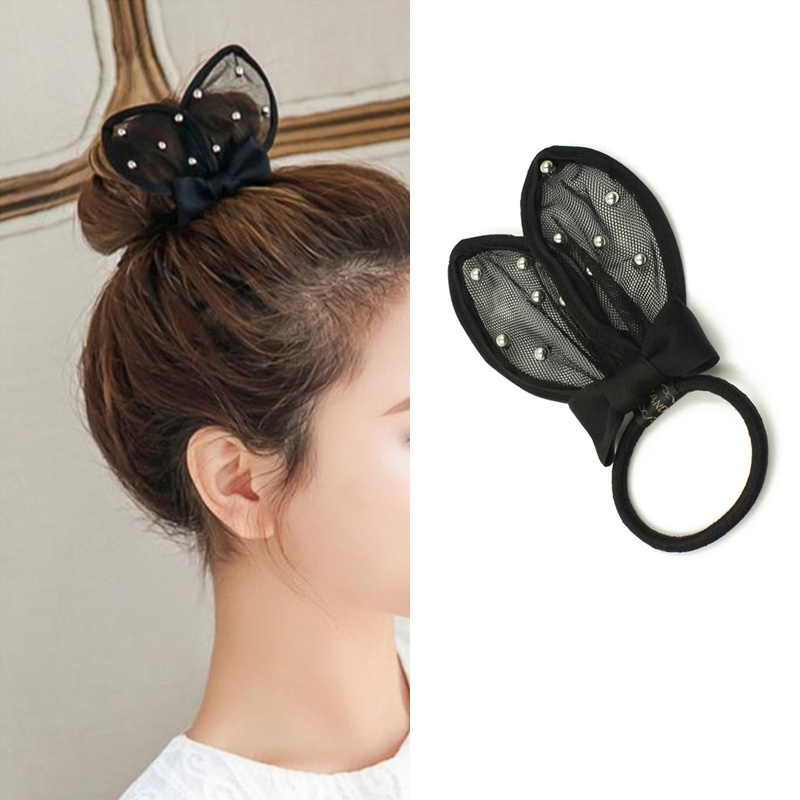 New Women Girl's Cute Black Rabbit Ears Elastics Hair Bands Hair Ring Bow   Headwear   Hair Accessories Children Fashion Headdress
