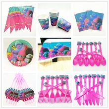 Trolls Party Supplies Tableclothes Straws Cups Napkin Plate baby shower Decoration Birthday Favors