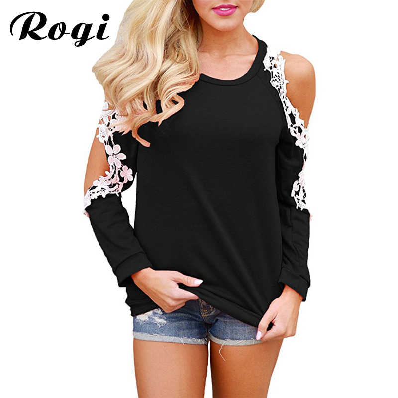 4b1b6e467e Rogi Sexy Off Shoulder Long Sleeve Lace Blouse Embroidery Women Shirt O  Neck Casual Tops 2019 Spring Blouses Shirts Plus Size