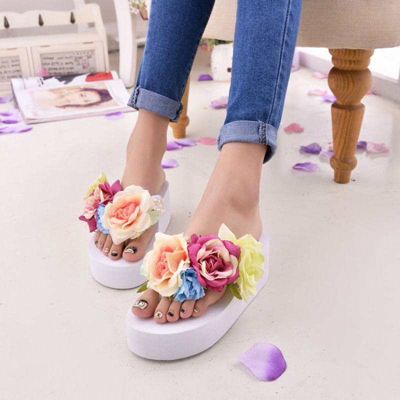 New Women Sandals Fashion Flower Summer Sandals Wedges Flip Flops Platform Slippers Shoes slippers zapatillas chinelo sandalia new 2017 fashion women sandals summer style wedges women s sandals platform black slippers flip flops open toe high heeled
