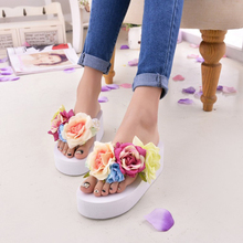 2016 Women Summer Sandals Fashion Flower Wedges Flip Flops Platform Slippers Shoes(Fits small,take a size larger than normal)