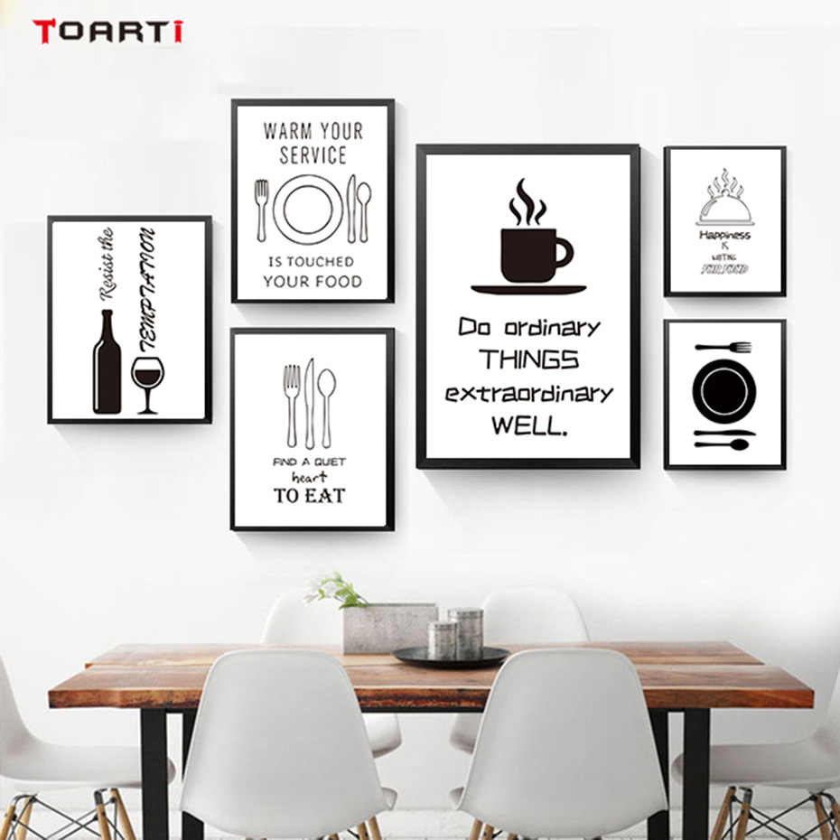 Humorous Tableware Draw&Quote Wall Art Mural Modern Black&White Painting Canvas Prints Vintage Poster Kitchen Nordic Style Decor