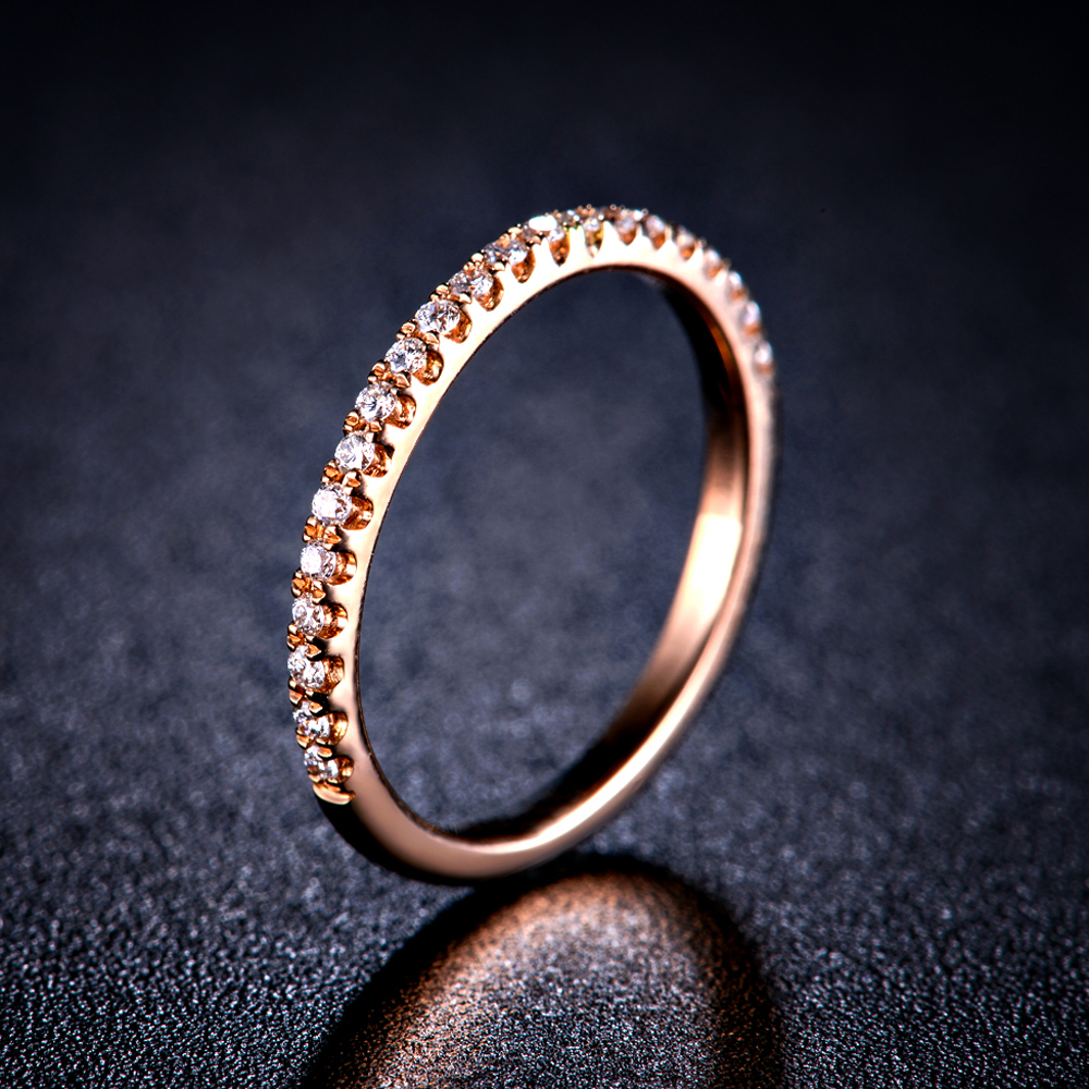 Engagement Ring 18k Gold Ring Natural White Or Rose Gold Diamond Round Fine  Jewelry Gift Couple