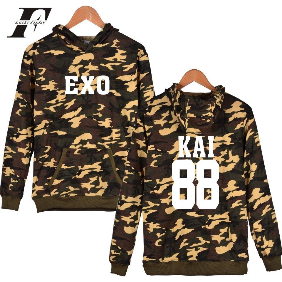 Luckyfridayf Лидер продаж EXO камуфляж глубина цвета хаки с капюшоном Мужские и код мода Поп одежда монолитным кофты женские Толстовки