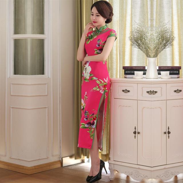 2016 Fashion Red Silk Qipao Cheongsam Dress Traditional Chinese Dress Casual Oriental Dresses Modern Qi Pao Robe Chinoise