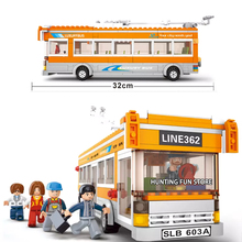 Fit City Series Trolleybus Bus Station Set Passengers Mini Figures Educational Building Blocks Toy for Children Gifts