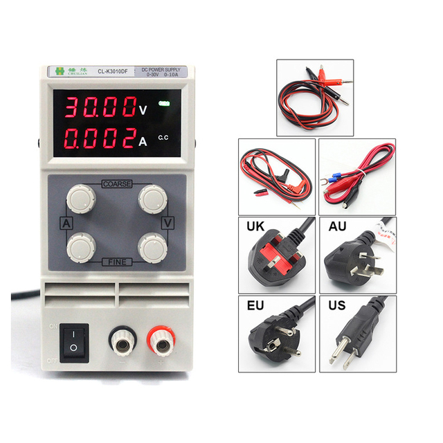 chuilian CL3010DF 4 Digits LED DC Power Supply 0-30V/0-10A 110V-230V 0.1V/0.001A Digital Adjustable DC adapter