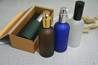 4pcs 100ml lotion pump press bottle,frosted glass bottle refillable empty bottle with wooden box cream cosmetics subpackage jar