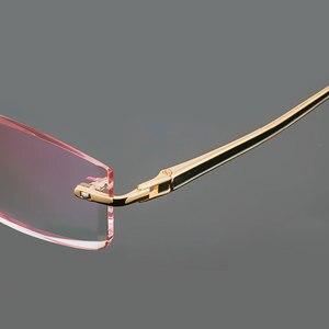 Image 5 - Gmei Optical Phantom przycinanie okulary tytanowe męski model diamentowe przycinanie złote bez oprawek wykończone okulary korekcyjne dla mężczyzn