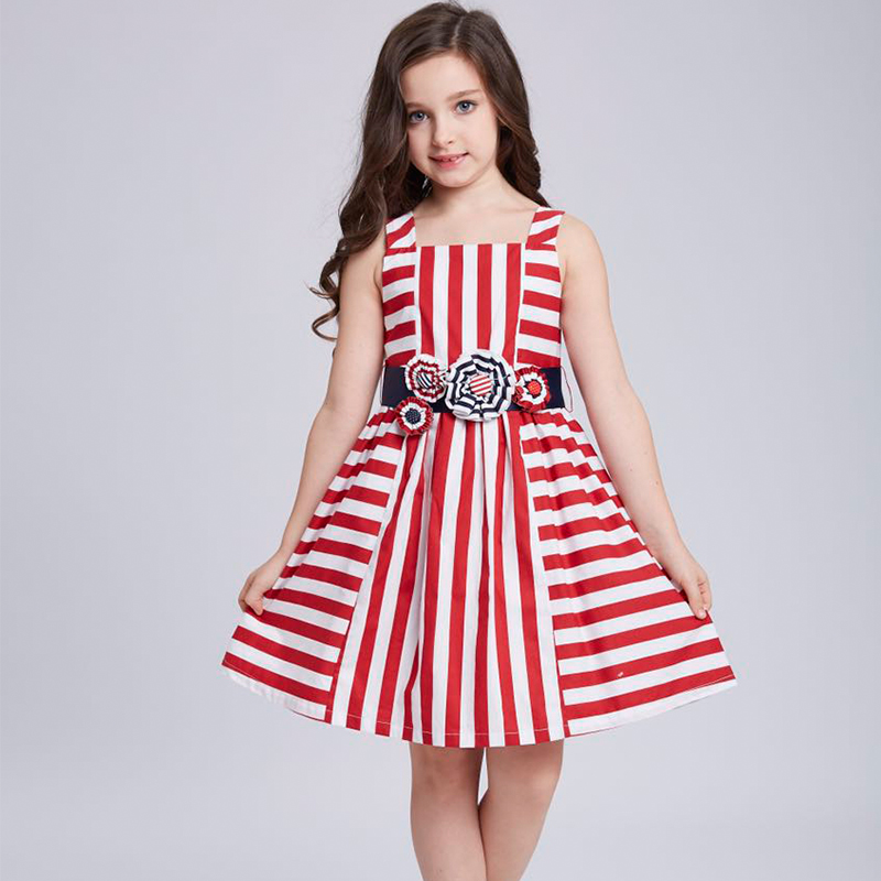 Подробнее о Princess Dress Robe Mariage Fille 2017 Brand Summer Dress Girls Clothes with Stereo Flower Belt Kids Striped Dresses Costumes princess dresses for girls costume 2017 brand summer girl dress children clothing rose flower robe mariage fille kids clothes