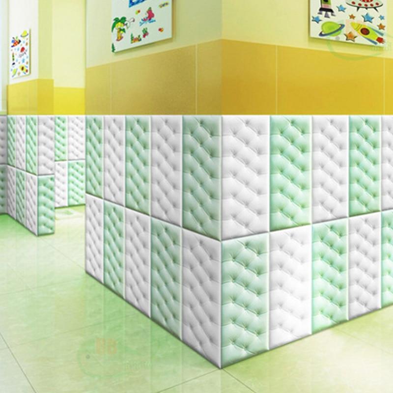 Papel pintado autoadhesivo impermeable de espuma de PE de cuero de imitación 4 Uds para sala de estar dormitorio niños habitación infantil decoración para el hogar papel de pared en 3D - 3