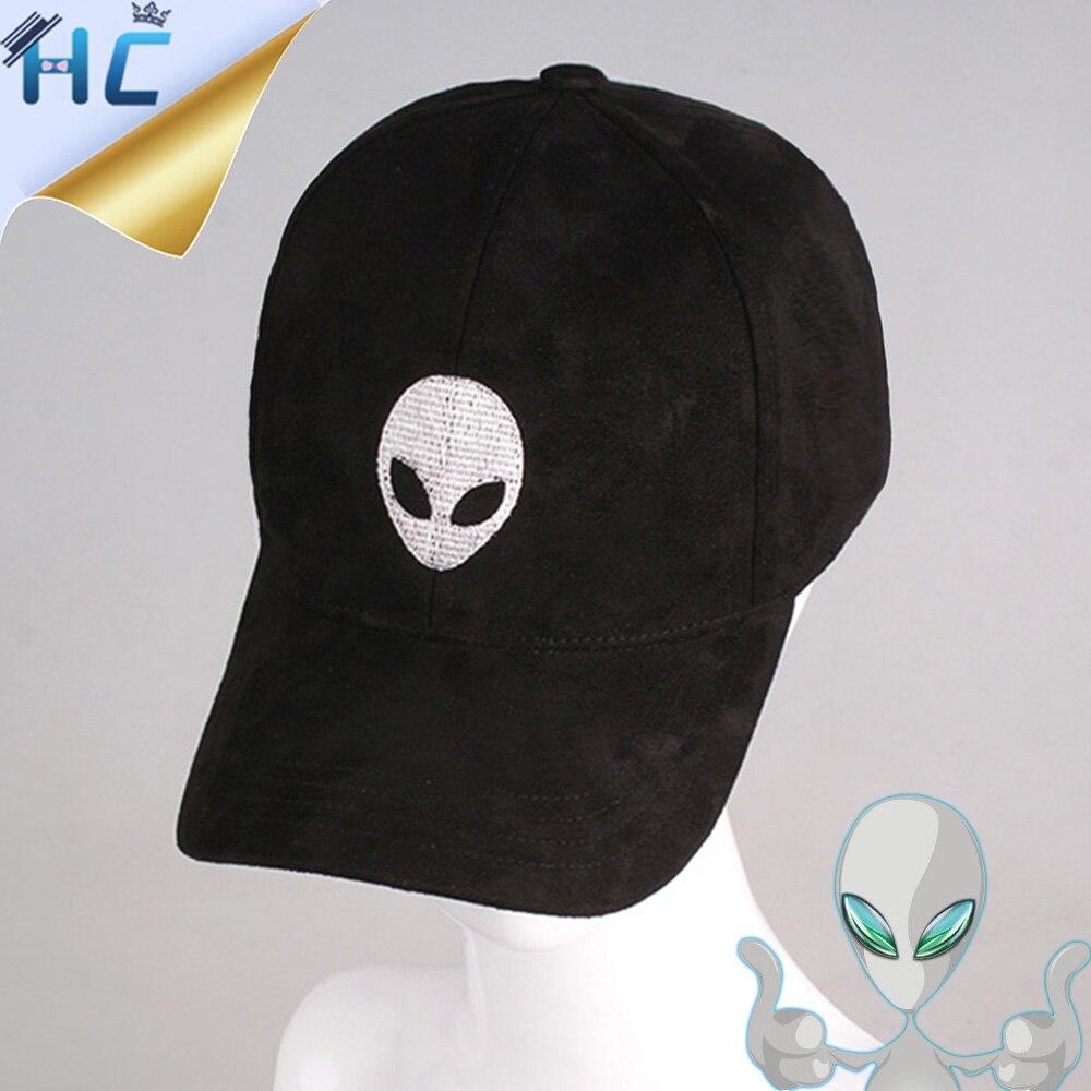 Prix pour Alien Broderie Casquette de baseball En Daim Snapback Cap Gorras Planas Hip Hop chapeau Hommes Femmes Noir Rose En Daim Tissu Caps Pour UFO Fans