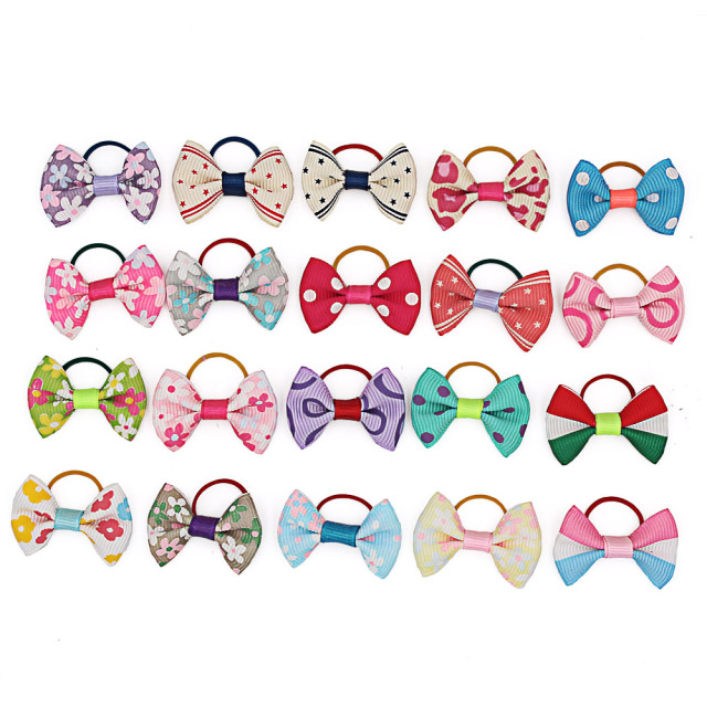 Grooming Accessories 20PCS/pack Assorted Cat or Dog Hair Bows with Rubber Bands