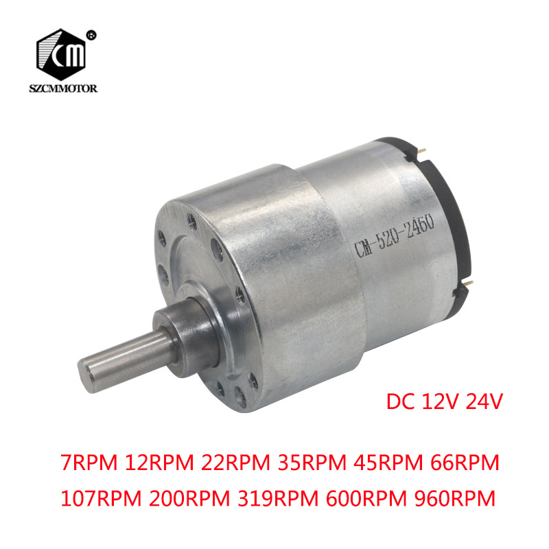 37mm 12V DC 7RPM to 960RPM High Torque Gear Box Electric Motor New Gearmotor