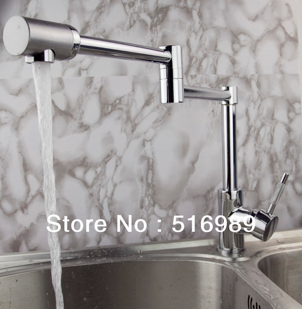 Wholesale Retail Chrome Brass Kitchen Faucet Swivel Vessel Sink Mixer Tap tree710
