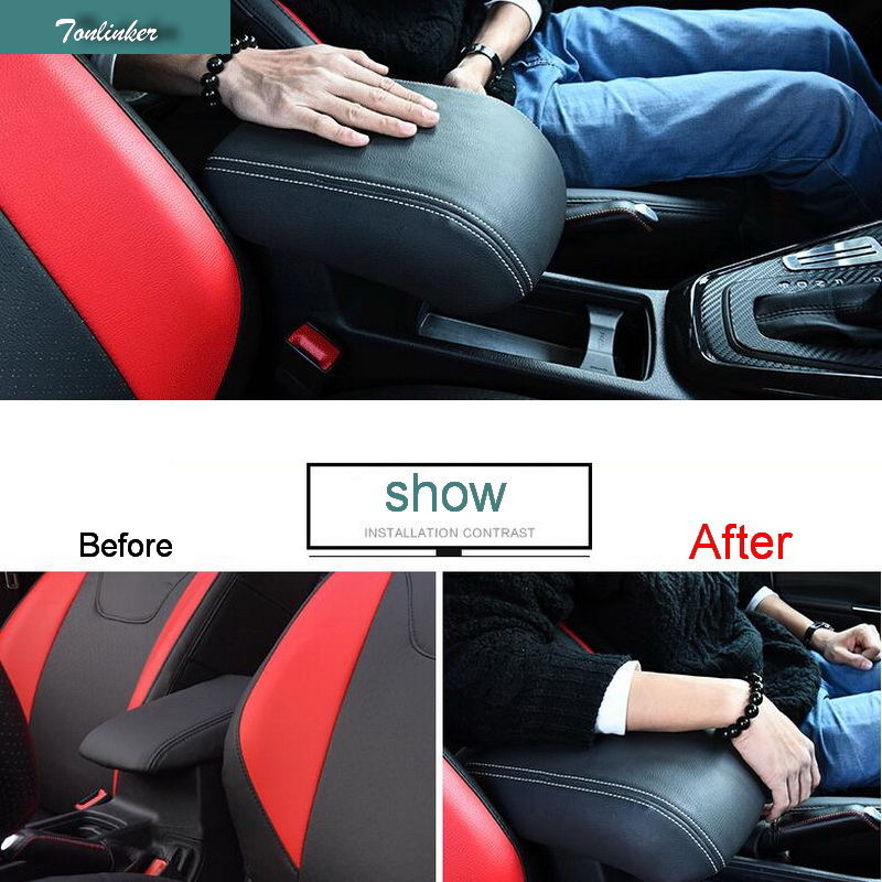 Tonlinker 1 PCS DIY Car styling PU Leather Heighten Memory cotton central armrest box cover case stickers for Ford Focus 2015 tonlinker 1 pcs car modification armrest box storage chromium styling gear position stickers for ford focus fiesta ecosport