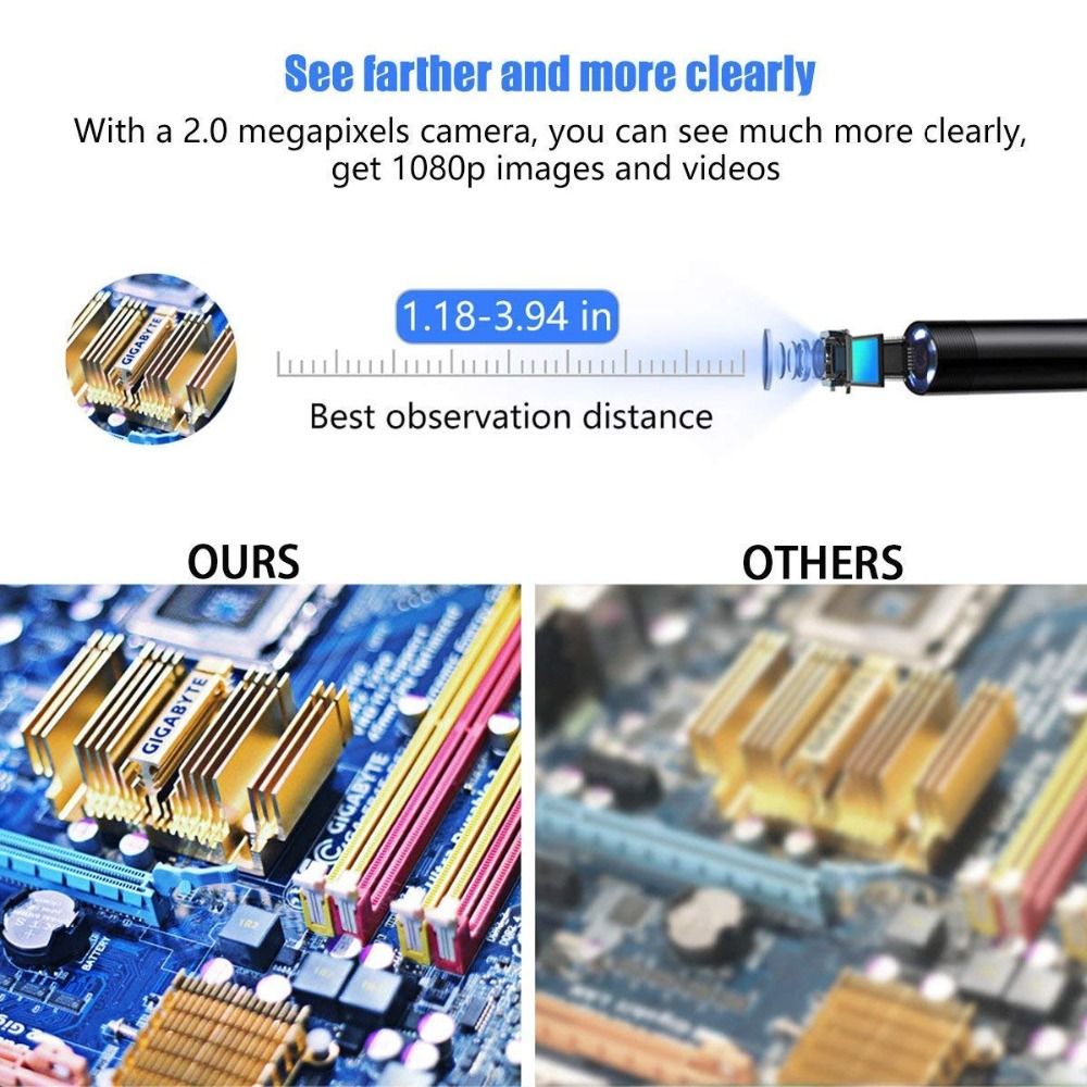 Full HD 1080p Endoscope Camera MicroUsb Type C Android Smartphone 2M 5M 10m Hard Flexible Wire 8mm Endoscopy Camera Inspection in Borescopes from Tools