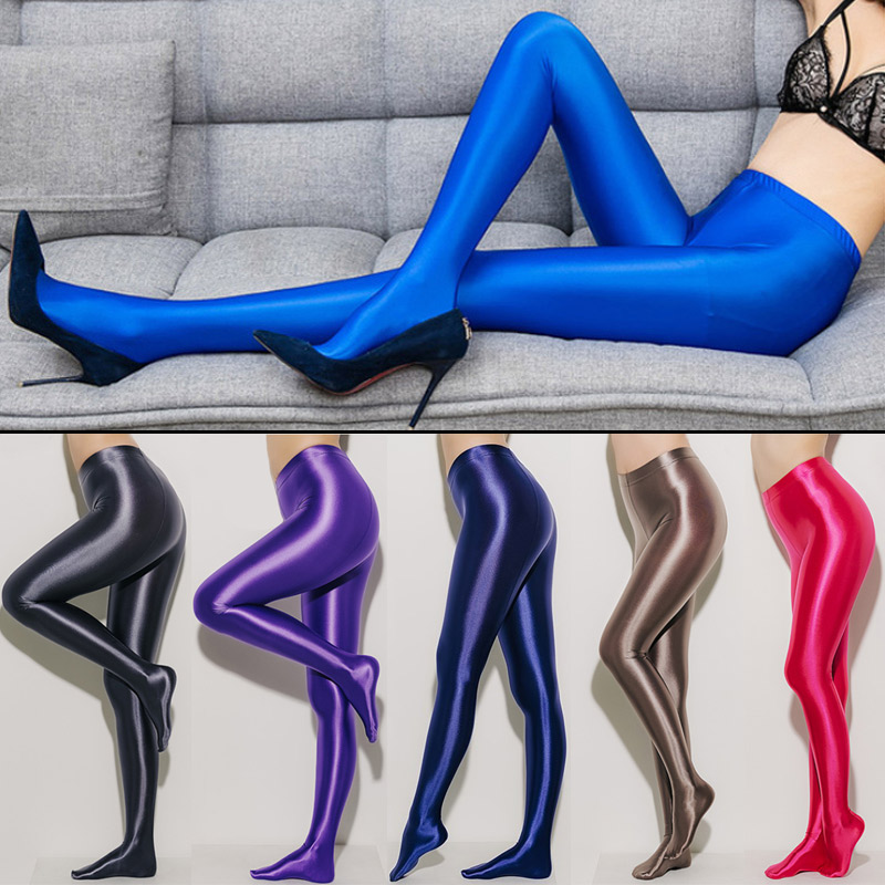 25b74ca3a13 Lunamy Nylon Glitter Sexy Stockings Satin Glossy Opaque Pantyhose Shiny  Leggings Fashion Japanese Slim High Waist