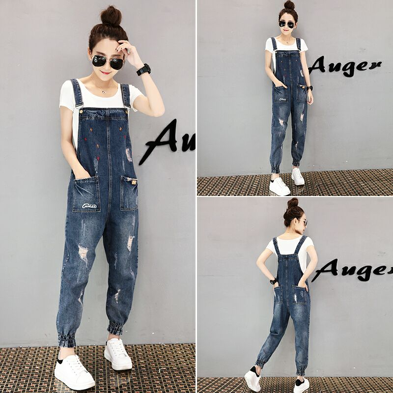 women clothing denim washed fabric rompers summer/autumn HOLE overalls women   jumpsuit   suspenders jeans SLIM women overalls jeans