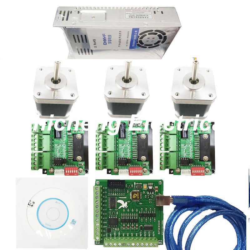 CNC mach3 USB 3 Axis Kit, 3pcs TB6560 driver+ mach3 USB stepper motor controller board+ 3pcs nema17 stepper motor +power supply 3pcs i9300 power supply ic max77686