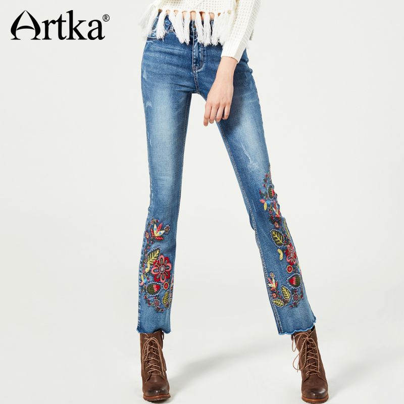 ARTKA 2018 Summer Vintage Light Washed Embroidery Casual Ankle-length Pants   Jeans   KN11273D