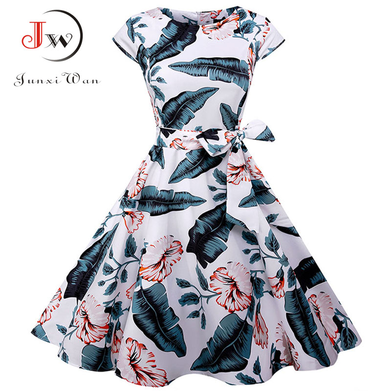 Summer Dress 2018 Women Short Sleeve Casual O-Neck Vintage Floral Dresses 50s 60s Retro Rockabilly Party Plus Size Vestidos
