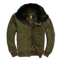 S.ARCHON US Air Force Pilot Military Jacket For Men Winter Warm Flight Tactical Jacket Coat With Fur Collar Cotton Army Jackets