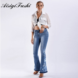 Image 3 - AISIYIFUSHI American Blue Women Bell Bottom Jeans Embroider Floral Push Up Denim Pants for Women Jeans Boot Cut Flared Jeans 4XL
